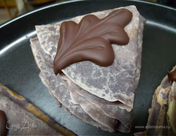 """Пирожные блинные """"Обамки в шоколаде с ванильным пудингом и вишней"""" (К Масленице)"""