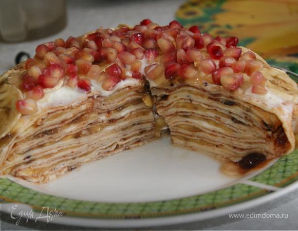 Банановый торт из блинов к масленице!