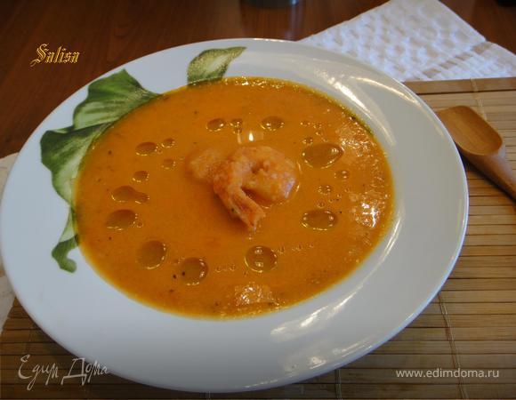 Итальянский томатный крем-суп с креветками