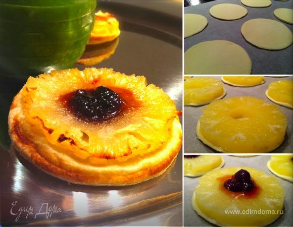 Постное пирожное с ананасом
