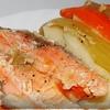Форель в имбирно-чесночном маринаде,запеченная на овощной подушке.