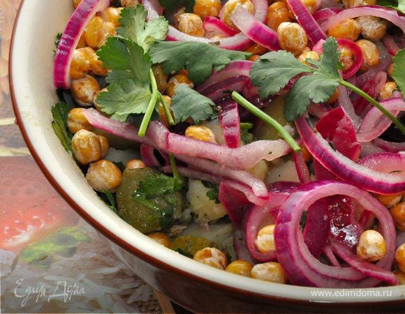 Теплый картофельный салат с нутом. (Постные дни)