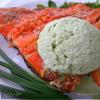 Семга-гриль с мороженым из петрушки