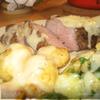 Рибай с молодой картошкой,брюссельской капустой и соусом ГРЕЙВИ