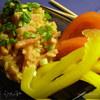 Рис на зеленом чае с ветчиной и томатами
