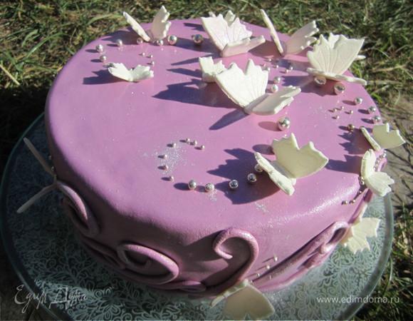 """Торт """"Бабочки на сиреневом"""""""