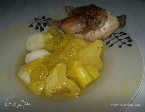 Цыпленок чили массала и патиссон с картофелем