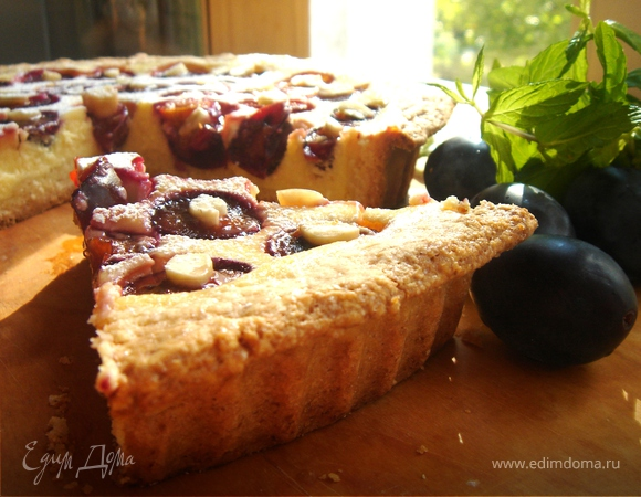 Сливовый пирог с творожно-пудинговым кремом