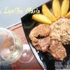 Утиное филе в кунжуте с грибным рагу и картофельными дольками