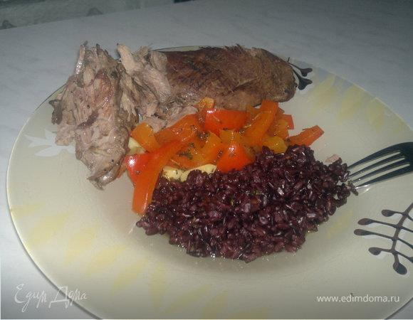 Воскресная утка + черный рис и сладкий Болгарский перец