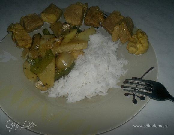 Обед из трех текстур ( овощи и рис + свинина )