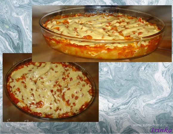 Каннелони с начинкой из курицы, баклажанов и творожного сыра