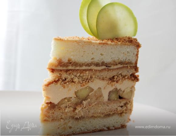 Яблочный торт с карамельным баварским муссом, пошаговый 90