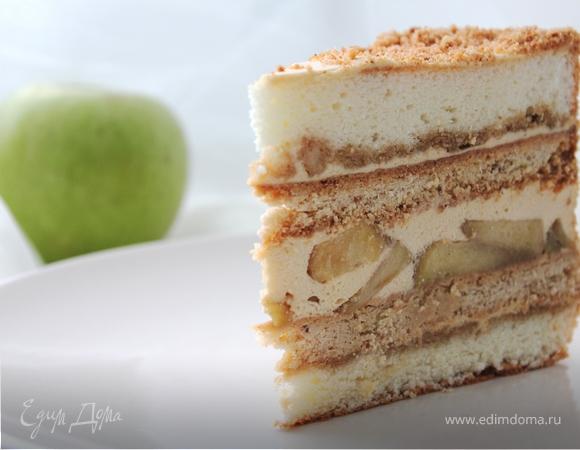Яблочный торт с карамельным баварским муссом, пошаговый 52