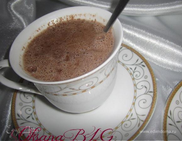 Запеканка на шоколадном тесте, с горячим шоколадом.