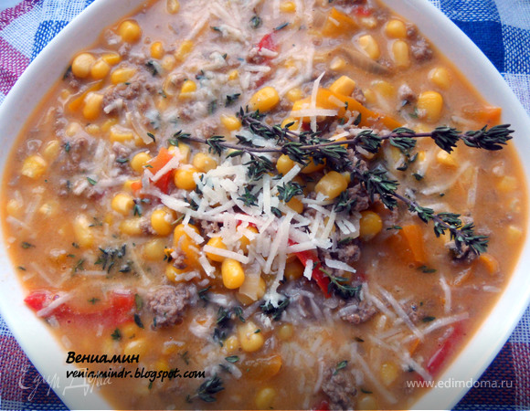 Суп с фаршем, сладким перцем, кукурузой и дижонской горчицей