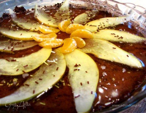 Тортик из овсяного печенья с фруктами и желе