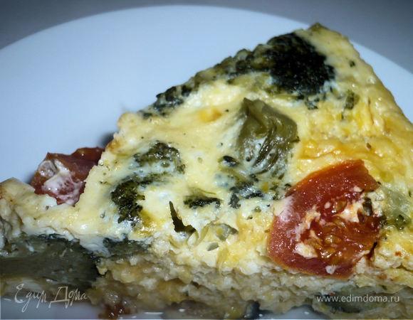 Кукурузное суфле с брокколи и помидорами