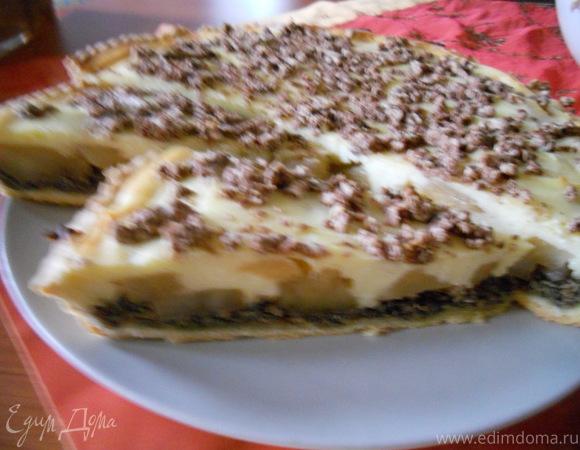 Яблочно -грушевый пирог с маком и творогом