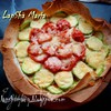 Открытый пирог из лаваша с курицей, кабачками и томатами
