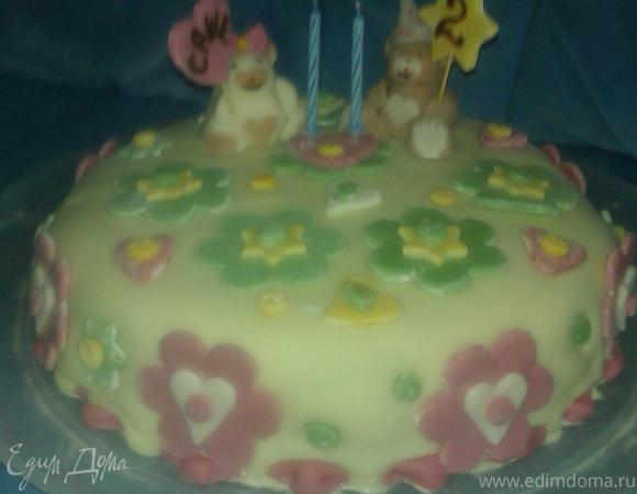 """Торт малиново-миндальный """"Нам два годика"""""""