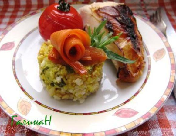 Курица, фаршированная мраморным рисом, с глазированными овощами