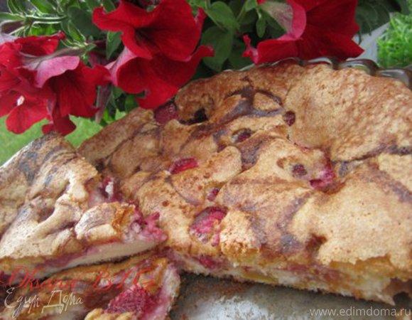 Пирог творожно-ягодный на бисквитном тесте
