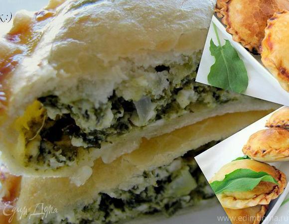 Закрытые мини-пироги с творогом и зеленью