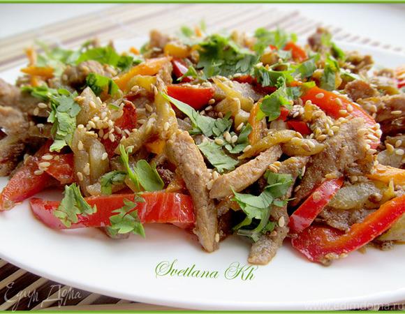 Салат из баклажанов с телятиной