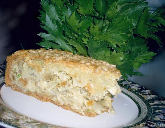 Сырно-луковый пирог с баклажанами