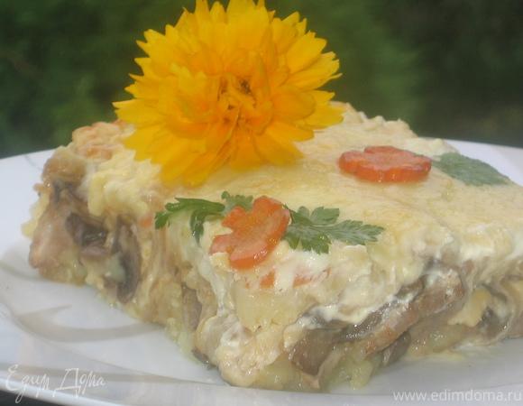 Запеканка грибная под сливочно-сырным соусом