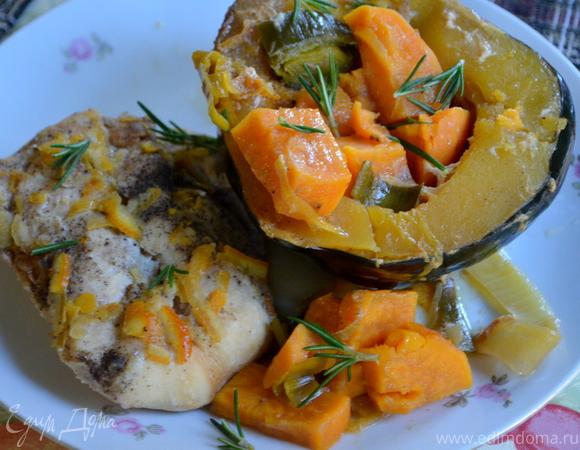 Куриные грудки в апельсиново-кленовом сиропе с акорн тыквой и сладким картофелем