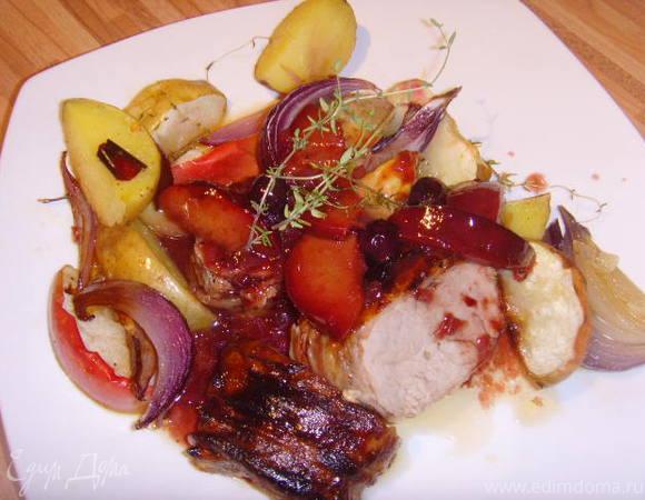 Свиное филе под соусом красного вина