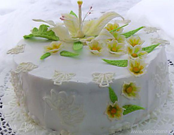 "Торт ""Цветы на снегу"""