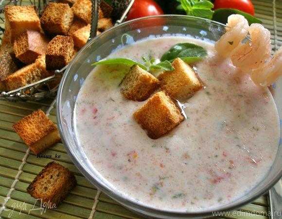 Йогуртовый суп с базиликом и помидорами черри