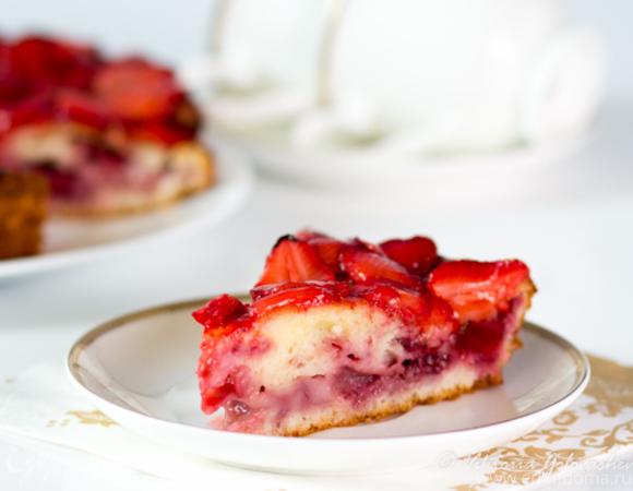 как приготовить творожно клубничный пирог