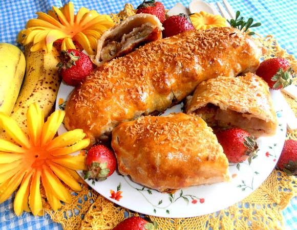 Банановый штрудель в мармеладной карамели для Инны (GinaGrin)