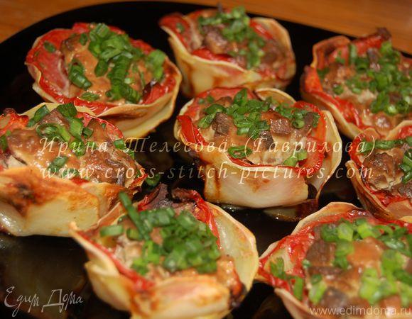 Картофельные цветы с печенью в сметане (для Наташи из Волгограда)