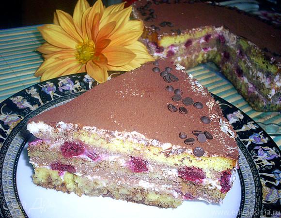 Творожный торт-десерт с пьяными вишнями в стиле Тирамису