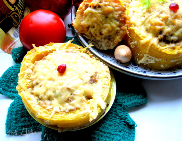 Фаршированные кабачки под сыром