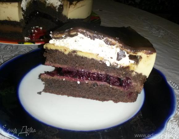"""Торт """"Крем-брюле с вишневой прослойкой в шоколаде"""""""