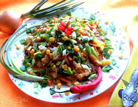 Постный салат из чечевицы