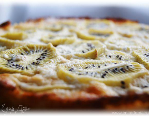 Пирог с киви со сметанной заливкой