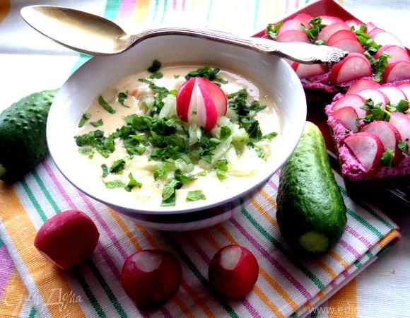 Сырный суп с вареными и свежими овощами