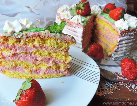 Торт с заварным клубничным кремом (для Елены Ковач)
