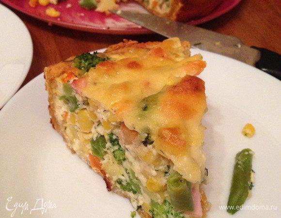 Открытый пирог овощной или с курицей