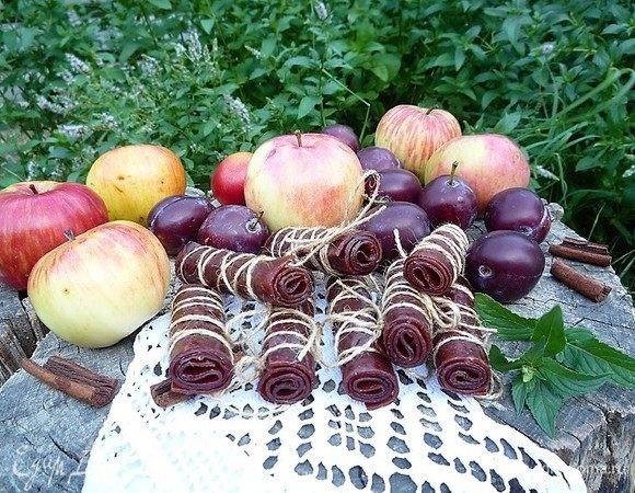 Пастила из яблок и слив с корицей