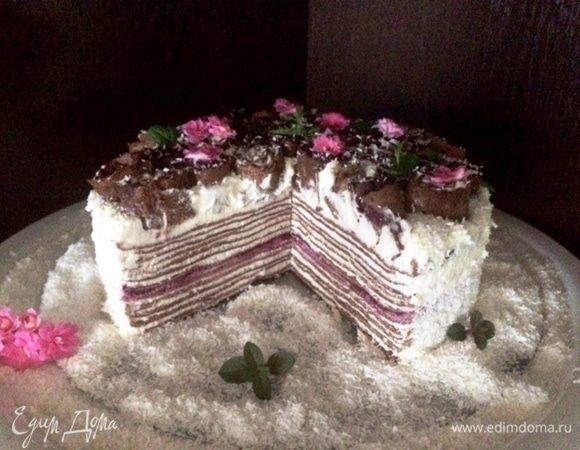 Блинный торт со смородиновым конфи