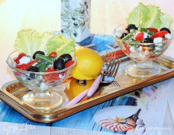 Салат с тунцом, фетой и стручковой фасолью
