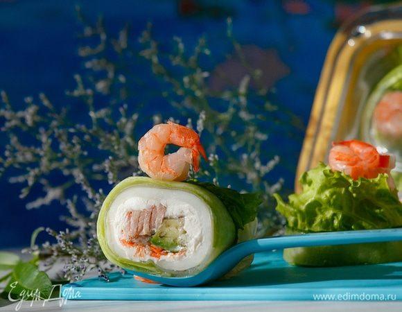 Спринг-роллы с кальмарами и тунцом